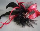 Masquerade Mask,Red Shimmer Mask,Birdcage Veil Black Feather Mask, Red Crystal Mask