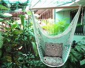 Green and White Bulico Sitting Hammock, Hanging Chair Natural Cotton and Wood