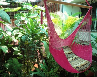 Fuchsia Sitting Hammock, Hanging Chair Natural Cotton and Wood