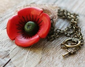 Necklace - Red Poppy Flower