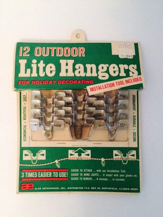 items similar to vintage outdoor christmas light hanger hooks metal nos nip on etsy - Outdoor Christmas Light Hooks