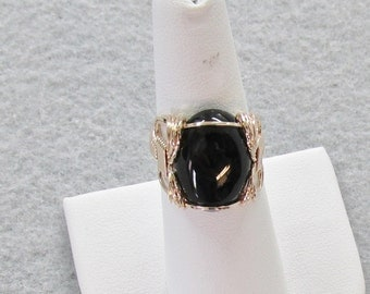 Black Onyx and Goldfilled Wire Ring