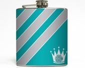 Custom Flask Personalized Crown with Initial Monogram Sorority Custom 21st Birthday Women Gift Stainless Steel 6 oz Liquor Hip Flask LC-1545