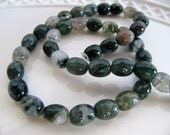 Moss AGATE Beads in Green Shades, Barrel Tube Shape, 1 Strand, 40 Beads, Approx 8mm x 10mm, Slightly Translucent, GB450