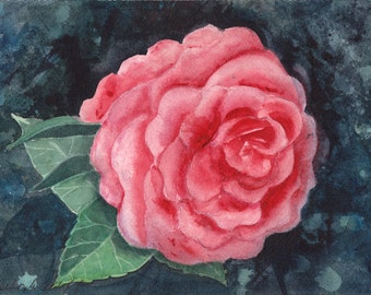 Alabama, Camelia, Watercolor Original, State Flower, Pink
