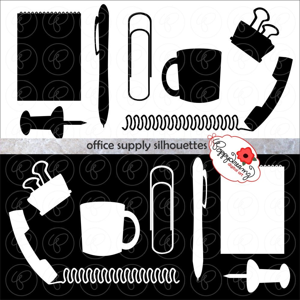 Office Supply Silhouettes: Clip Art Pack 300 dpi by ...