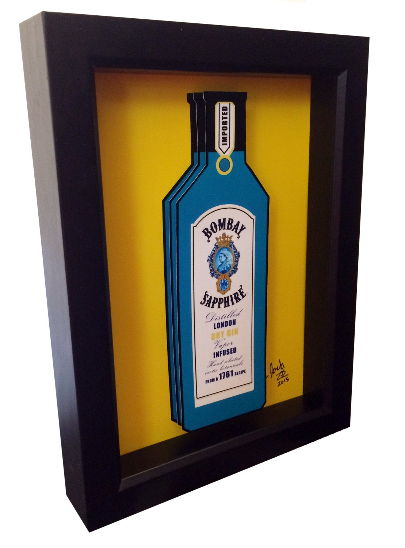 Bombay sapphire gin bottle 3d pop art liquor bottle print for Liquor bottle art