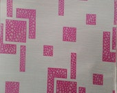 Custom Curtains Valance Roman Shade with Off-White / Hot Pink in Geometric Pattern
