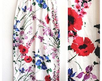 Gorgeous Vintage Retro Cotton - Spring Wildflowers motif White Maxi Skirt
