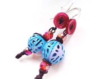 Button and Ombre Bead Drop Earrings w/ Wrapped Cording and Aurora Beads