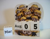 Minions Inspired Calendar Perpetual Wood Block Despicable Me Minions Inspired Character Theme Decor