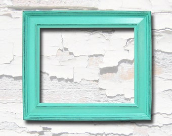 Picture Frame 8x10 Picture Frames Shabby Chic Picture Frame Shabby Chic Decor Aqua Turquoise Home Decor Beach Wedding Nursery