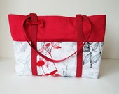 Handmade Large Cotton Tote Bag, Lots of Pockets, Large Red Cotton Tote Bag, TOT03379