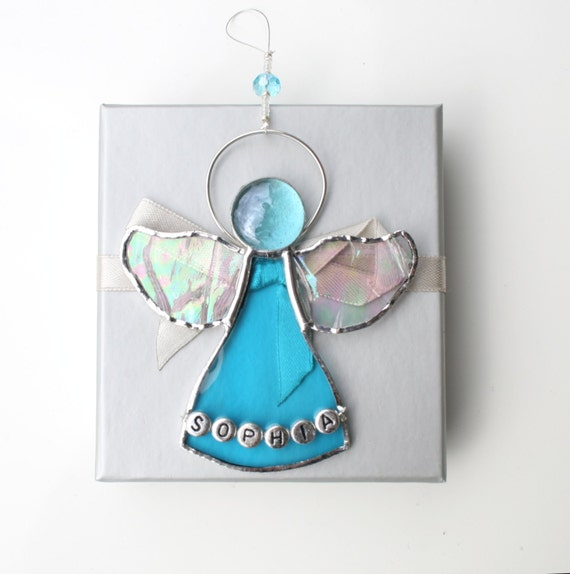 Angel Baby Gifts Uk : Personalized angel suncatcher stained glass new baby gift