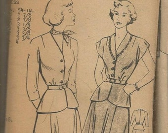 1950s Two Piece Dress V Neck Sleeve Variations Shawl Collar Flared Skirt Mail Order Pattern 3042 Size 12 Bust 30 Vintage Sewing Pattern