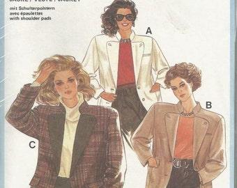 Ladies Jacket Blazer Standing Collar Buttoned Lapels Back Belt Pockets Burda 6436 Uncut FF Sizes 10 - 42 Women's Sewing Pattern
