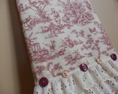Burgundy Red and Ivory Toile Tea Towel, French Country Primitive Decor with Lace & Button Accent, Handmade in NJ