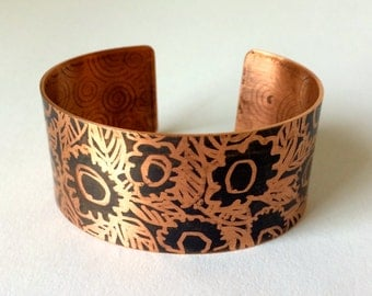 Copper Cuff with Flower Motif