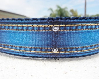 """Sale Dog Collar Denim Jeans 1"""" Quick Release buckle or  Martingale collar style"""