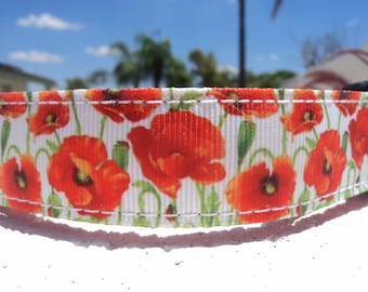 """Sale Dog Collar, Red Poppy, 1"""" wide, Quick Release, or, Martingale collar, adjustable"""