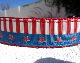 "Sale Dog Collar Vintage Stars & Stripes 1"" wide Quick Release adjustable - no martingale limited ribbon"