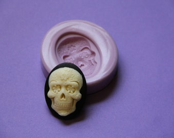 Sugar Skull Cameo Silicone Mold Fondant Resin Polymer Clay Soap Embed Wax Molds