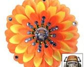 Chopper Rebels Orange and Yellow Penny Blossom Rhinestone Flower Barrette
