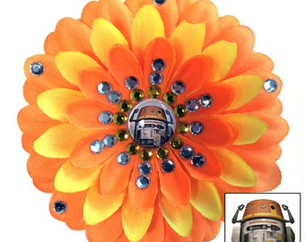 Chopper Rebels Orange and Yellow Penny Blossom Rhinestone Flower Barrette