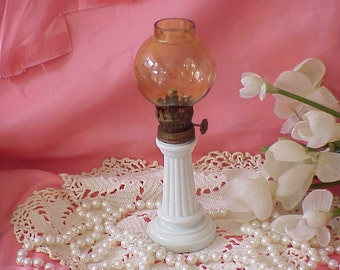 Vintage Miniature White Hurricane Lamp with Globe