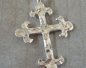 Silver Hammered Cross Pewter Pendant