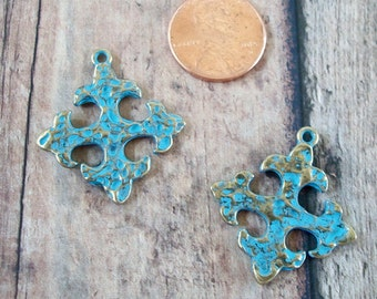Crosses Turquoise Blue Patina Pewter Hammered Square Antiqued Gold Perfect for Earrings