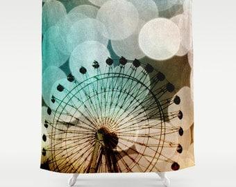 Art Shower Curtain At the Fair fine art photography Ferris Wheel home decor