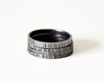 Textured Black Silver Skinny 3 Ring Stack