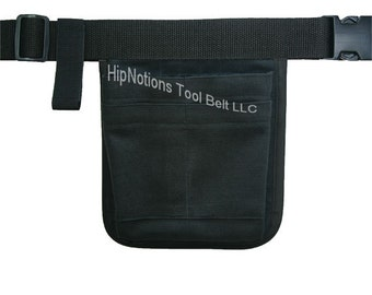 Solid Black Cotton Medical Vet Tech Mini Computer Professional  HipNotions Tool Belt with tape loop