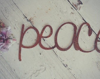 Peace Rusty Metal Letters Sign Wedding Decor
