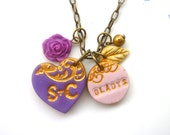 Heart Necklace, personalized name necklace, Mother's Jewelry, mommy gift, purple and plum
