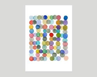 Dots watercolor painting  Nursery room decor - Watercolor print