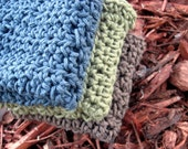 Elfin Wood Hand-Crocheted Dishcloth/Washcloth Set in Olive Green, Blue, and Brown