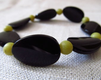 Black Bracelet, Lime Bracelet, Stretch Bracelet, Beaded Bracelet, Black Beaded Bracelet, Black Stretch, Bracelet, Black Lime Bracelet