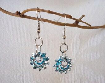 Gear and Aqua Ring Shell Earrings