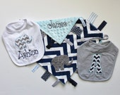 Personalized  DOUBLE MINKY Elephant Ribbon Tag Blanket with Pacifier Clip PLUS 2 Bibs