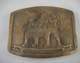 Bicentennial Patriotic Brass Belt Buckle 1975 P. Romano