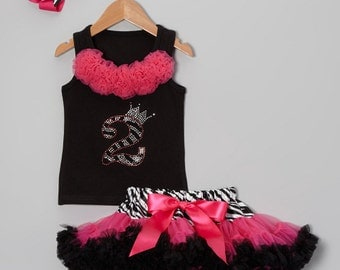 Girls 2nd Birthday Reversed Wild Zebra Bling Pettiskirt Set - HairBow Included