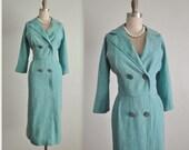50's Secretary Dress // Vintage 1950's Striped Aqua Fitted Secretary Dress L XL