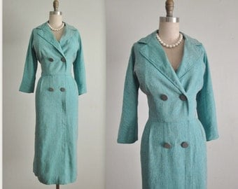 50's Secretary Dress // Vintage 1950's Striped Aqua Fitted Secretary Dress L XL