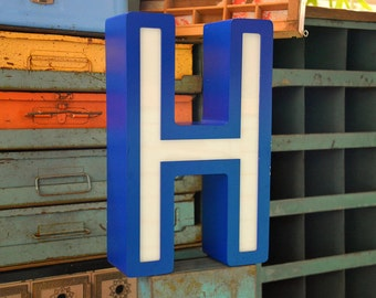 Vintage Marquee Sign Letter Capital 'H': Large Translucent Blue & White Wall Hanging Neon Channel Advertising Initial with WORKING LEDs