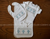 Layette Set - Body Suit, Bib, Burp Cloth with faux smocked cross