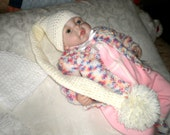 Tiny Antique White Newborn / Reborn Baby Elf Hat