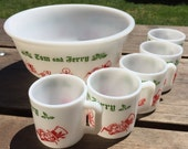 Vintage Tom & Jerry Milk Glass Punch Bowl with Mugs Set