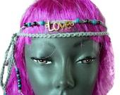 Grey Hippy Headband  Festival  Love Necklace  Crochet Beaded